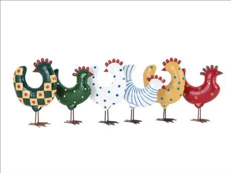 Box Of 12 Metal Chickens