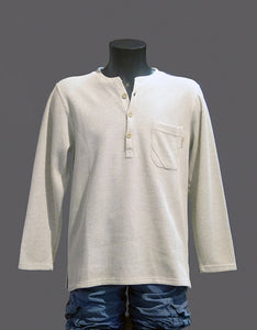 "Pull homme Natural coton polyester fermeture ""boutons"" gris beige 1"