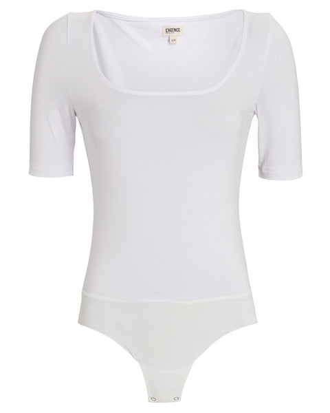 L'Agence - Katie Short Sleeve U-Neck Bodysuit - White