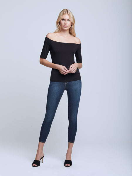 L'Agence - Suzie S/S Off Shoulder Top - Black