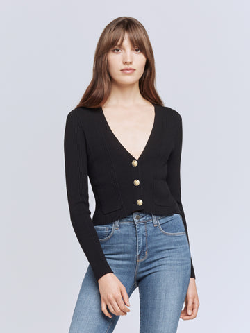 L'Agence - Jamie Cropped Cardigan - Black
