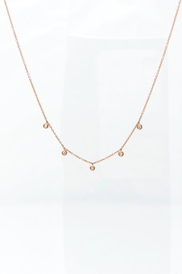 EF Collection - Diamond Bezel Necklace (Rose Gold)