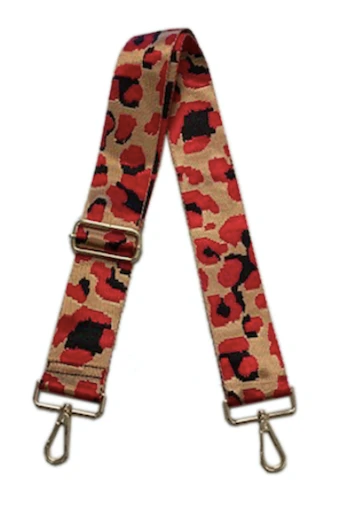 "2"" Red Leopard Bag Strap"