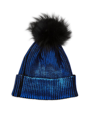 Adrienne Landau - Fox Fur Pom-Pom Sequin Beanie - Royal Blue