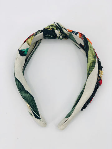 PatBO Beaded Tropical Print Headband