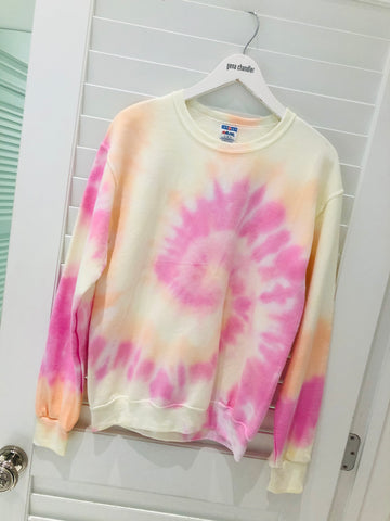 Tie Dye For ♡ - Crew Neck - Light Pink & Yellow