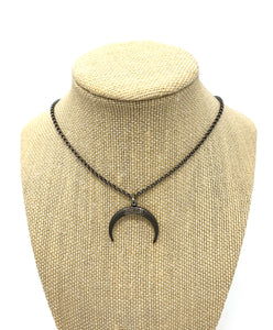Boho Beads Pave Diamond Horn Necklace