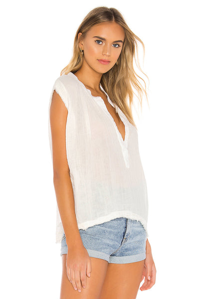 9seed IDYLLWILD - Lightweight Gauze Sleeveless Top w/raw Edge - White