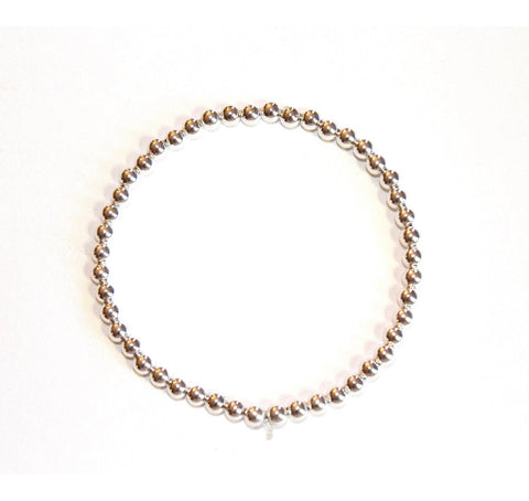 Boho Beads 4mm Layer Bracelet - Silver