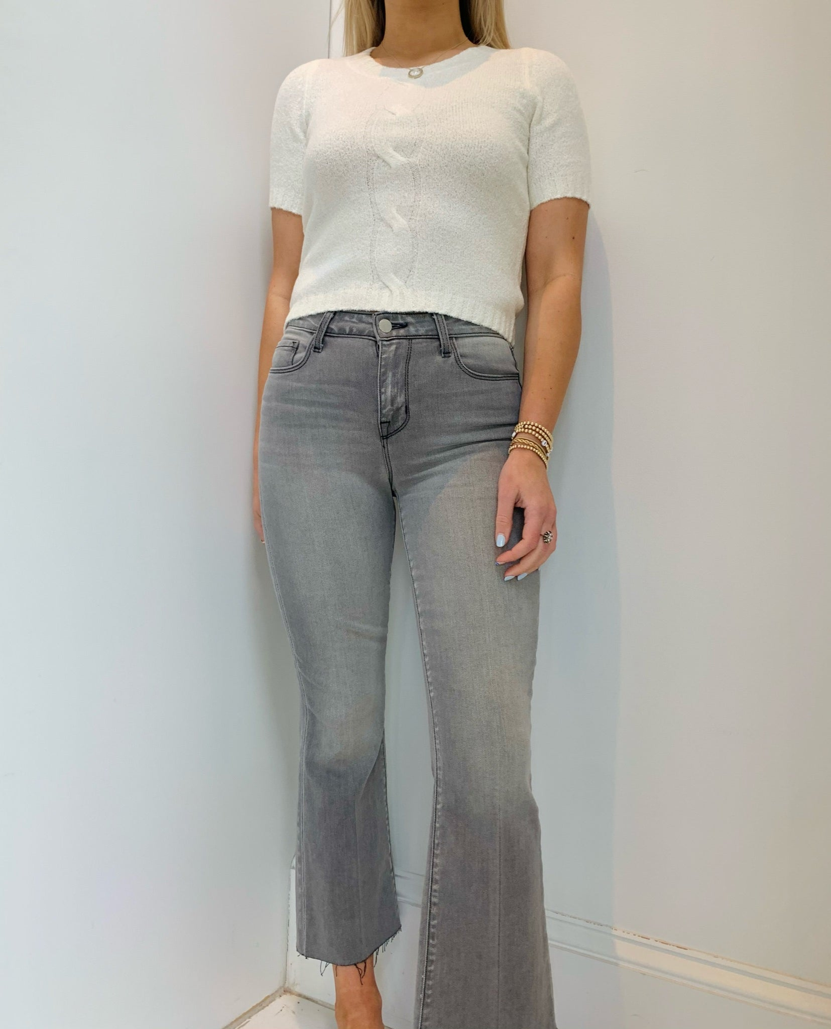L'Agence - Kendra H/R Crop Flare - Misty Grey