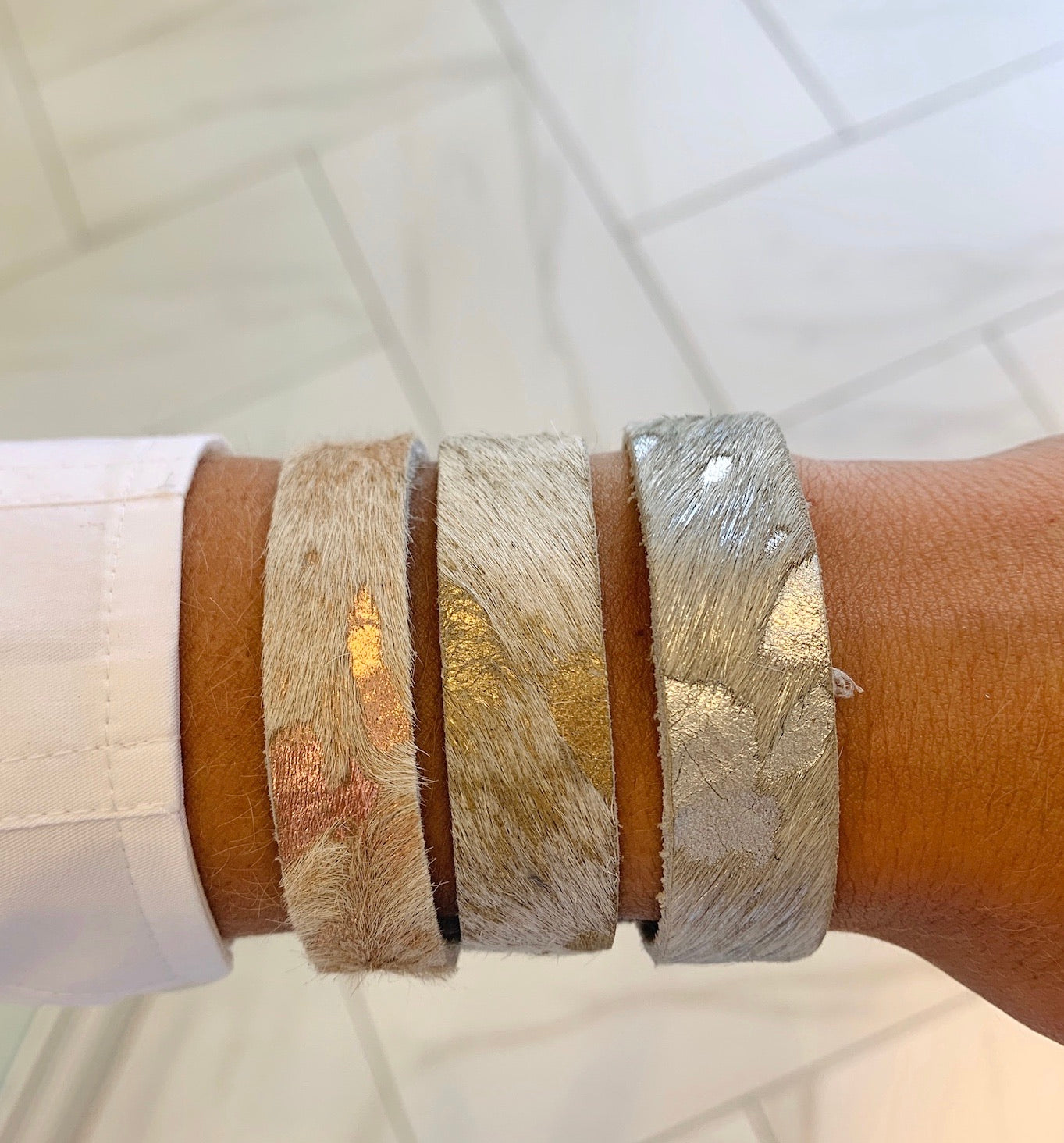 Boho Beads Metallic Cowhide Cuff - Thin