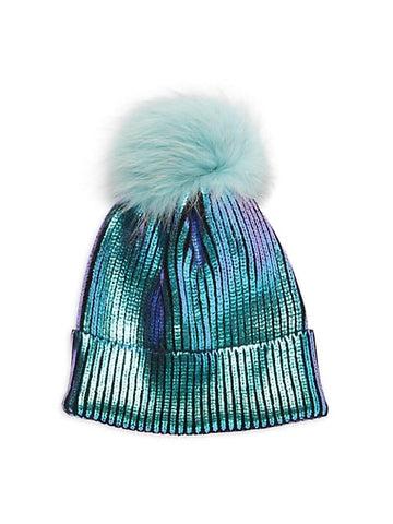 Adrienne Landau - Fox Fur Pom-Pom Sequin Beanie - Denim Blue