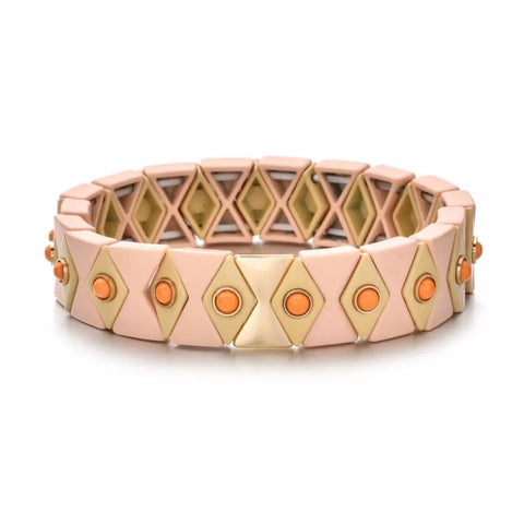 Boho Beads Eye Tile Bracelet- Light Pink