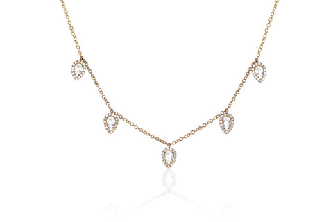 EF COLLECTION DIAMOND WHITE TOPAZ 5 TEARDROP CHOKER (rose gold)