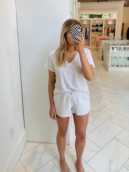 The Perfect White Tee - Sweat Shorts - Sugar