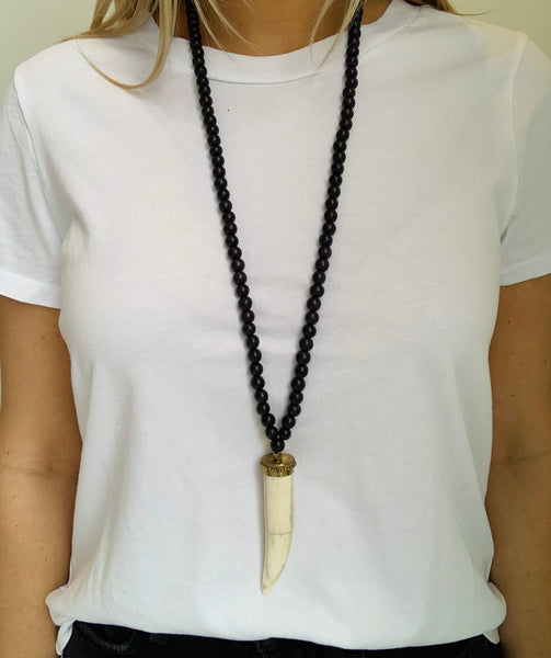 Boho Beads Stick Horn Necklace