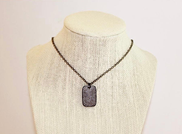 Boho Beads Dog Tag Necklace- Small
