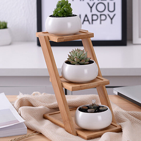 Ceramic Planter Set with Bamboo Tray