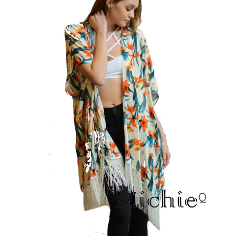 Boho Tropical Kimono (Ivory) - Women - Apparel - Sweaters - Cardigans United States Free Shipping