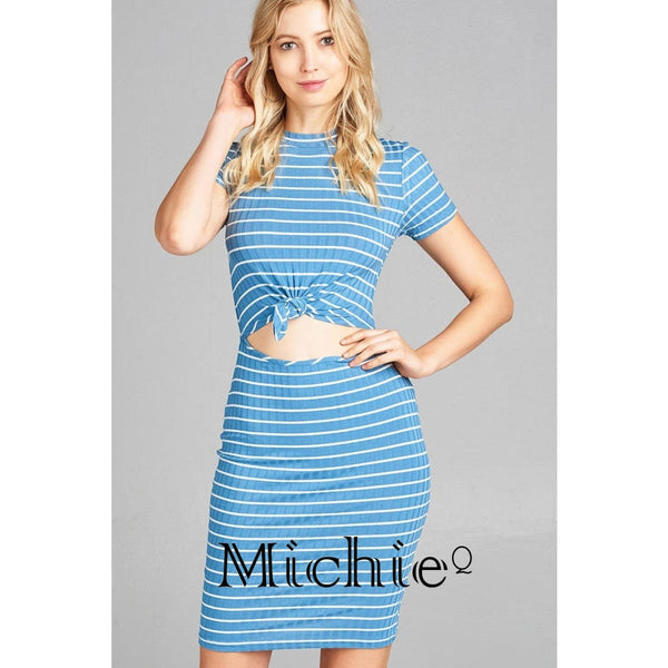 Crop Cut Out Ribbed Dress - S / Light Blue - United States Free Shipping