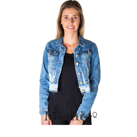 Cropped Distress Denim Jacket - S / Denim - United States Free Shipping