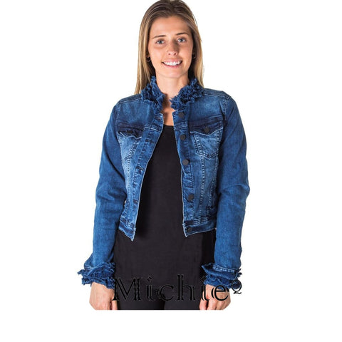 Cropped Ruffled Denim Jacket - S / Denim - United States Free Shipping