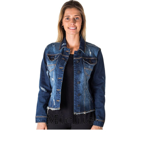 Distress Denim Jacket - S / Denim - United States Free Shipping