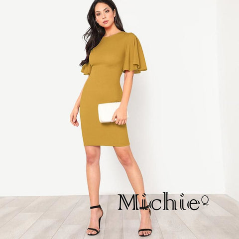 Flutter Sleeve Yellow Pencil Dress - United States Free Shipping