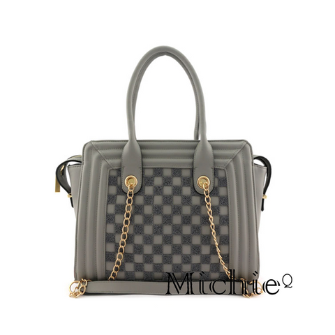 Gray Checkered Chain Handbag - Women - Bags - Hobos United States Free Shipping
