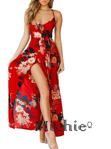 Long Beach Maxi Dress With Front Slit - United States Free Shipping