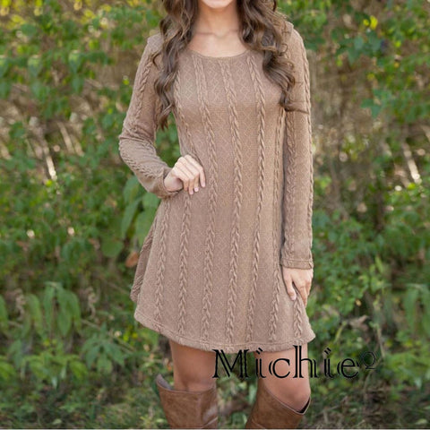 Long Sleeve Crewneck Jumper Knitted Sweater Mini Dress - United States Free Shipping