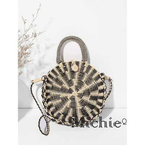 Nikkis Two Tone Round Tote Bag - United States Free Shipping