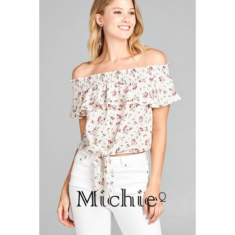 Off Shoulder And Ruffle Floral Print Crepe - Cream / S - United States Free Shipping