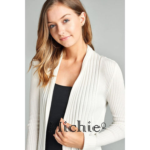 Open Ribbed Knit Cardigan - United States Free Shipping
