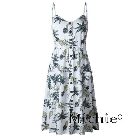 Pineapple Print Beach Dress - White / L / United States - United States Free Shipping