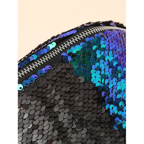 Sequin Detail Bum Bag In Blue Mermaid - United States Free Shipping