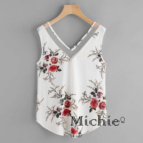 Sheer Chiffon Floral Casual Sleeveless Blouse - Xxl / White Floral - United States Free Shipping