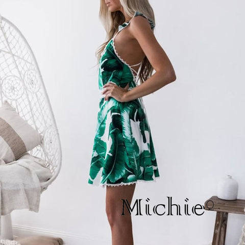 Take Me On Vacation Midi Backless Dress - Green / L - United States Free Shipping