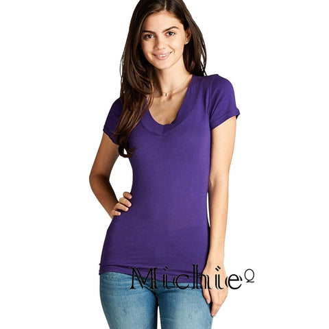 V Neck Tee - Purple Velvet / S - United States Free Shipping