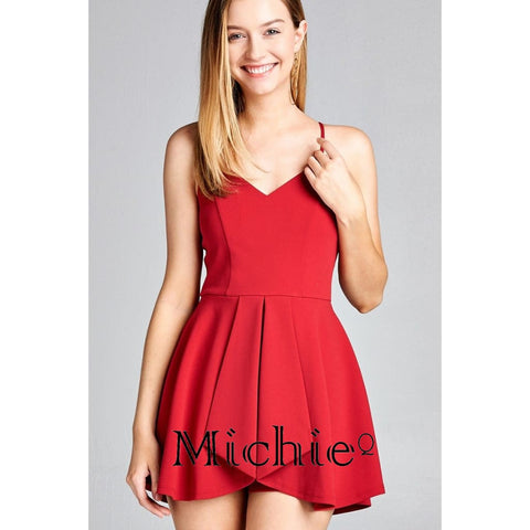 V-Neckline Flounce Skirt-Look Romper - Red / S - United States Free Shipping