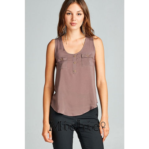 Woven Double Pocket Tank - Deep Taupe / S - United States Free Shipping