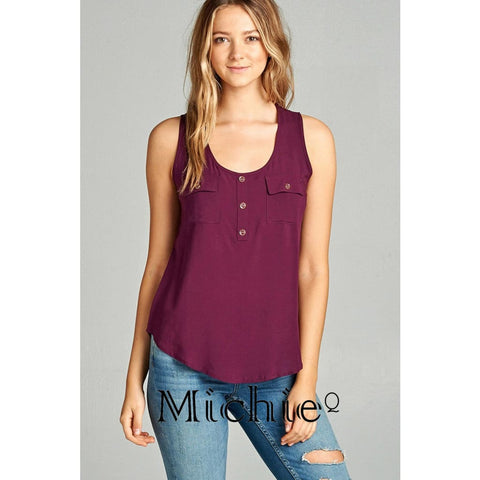 Woven Double Pocket Tank - Plum / S - United States Free Shipping