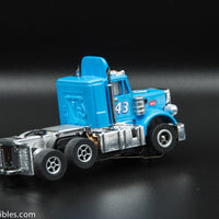 USED Round 2 HO Blue w/ Blue Spoiler # 43 Peterbilt Slot Car