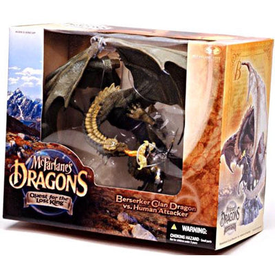 2004 McFarlane's Dragons: Quest for the Lost King - Beserker Clan Dragon vs Human Attacker - Action Figure Box Set