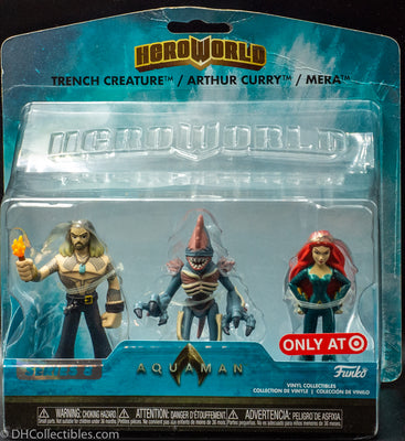 2018 Funko DC Hero World Series 8 Trench Creature, Arthur Curry & Mera Exclusive 4-Inch Vinyl Figure 3-Pack