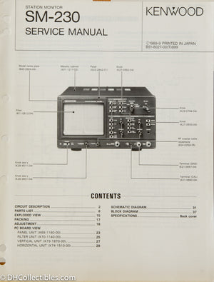 Kenwood SM-230 Station Monitor Service Manual