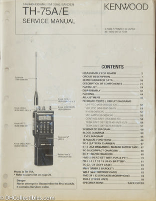 Kenwood TH-75A/E Amateur Radio Service Manual