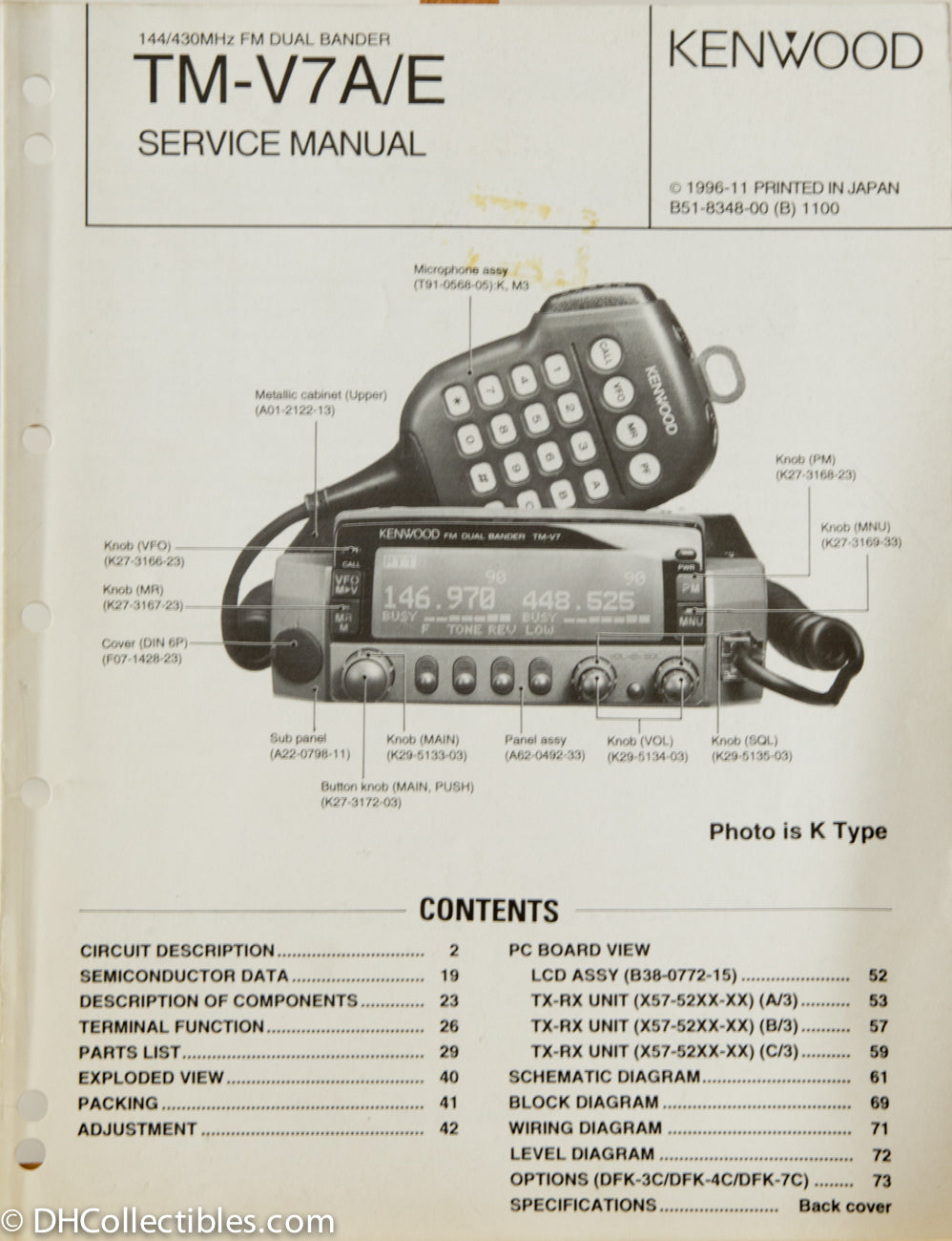 Kenwood TM-V7 A/E Amateur Radio Service Manual