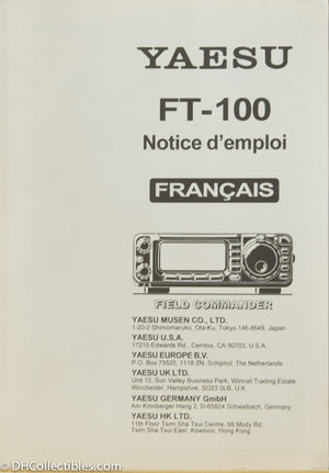 Yaesu FT-100 Amateur Radio Operating Manual - FRENCH Version