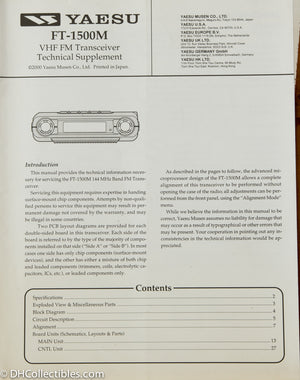 Yaesu FT-1500M Amateur Radio Service Manual